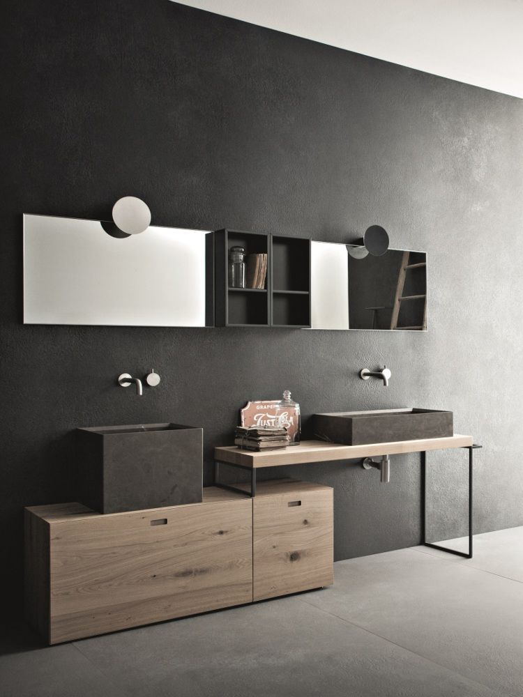 Legno e pietra per la nuova collezione bagno Novello In anteprima a