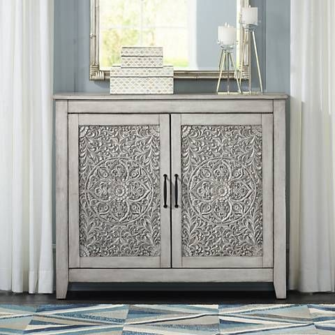 Weathered White Carved 2 Door Console Cabinet 32c83 Lamps Plus