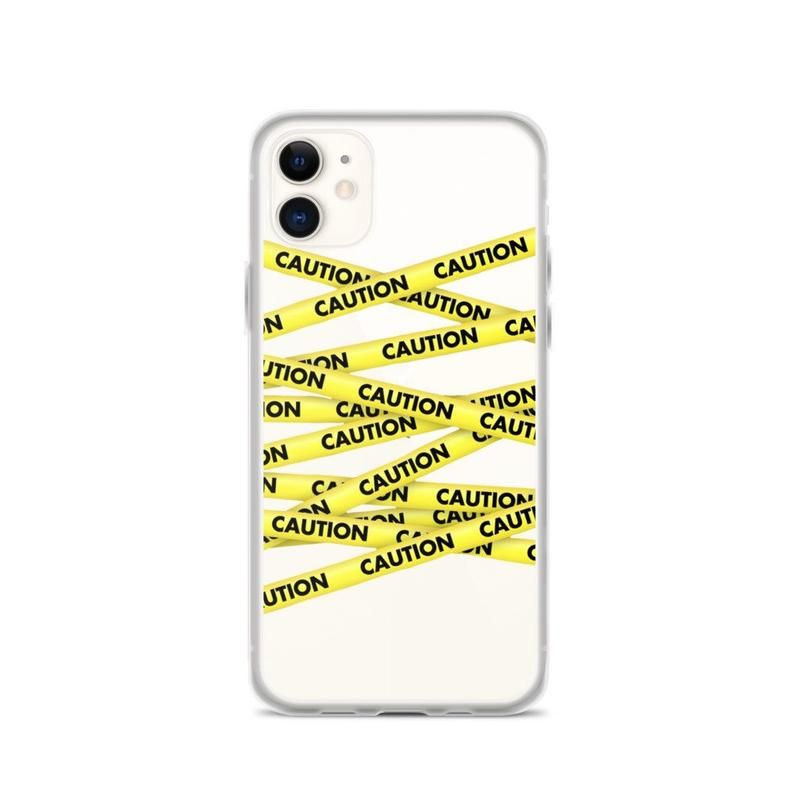Caution tape trendy clear iphone 11 case cover for iphone