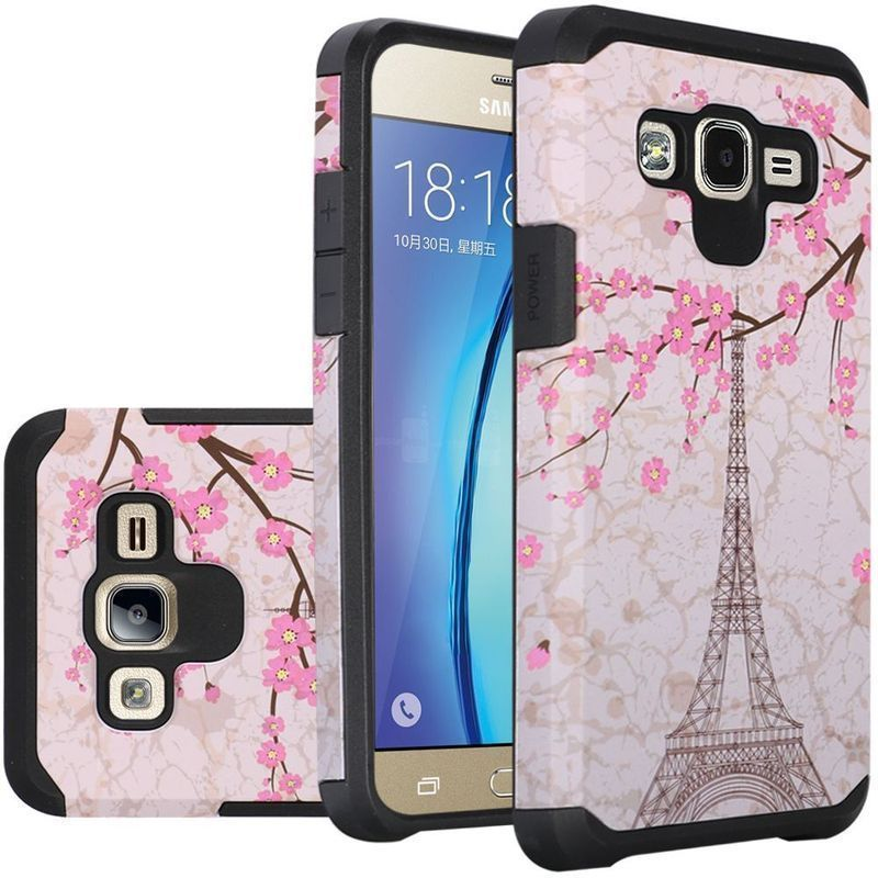 Insten Light / Pink Eiffel Tower Hard PC/ Silicone Dual Layer Hybrid Rubberized Matte Case For Samsung Galaxy On5 G550