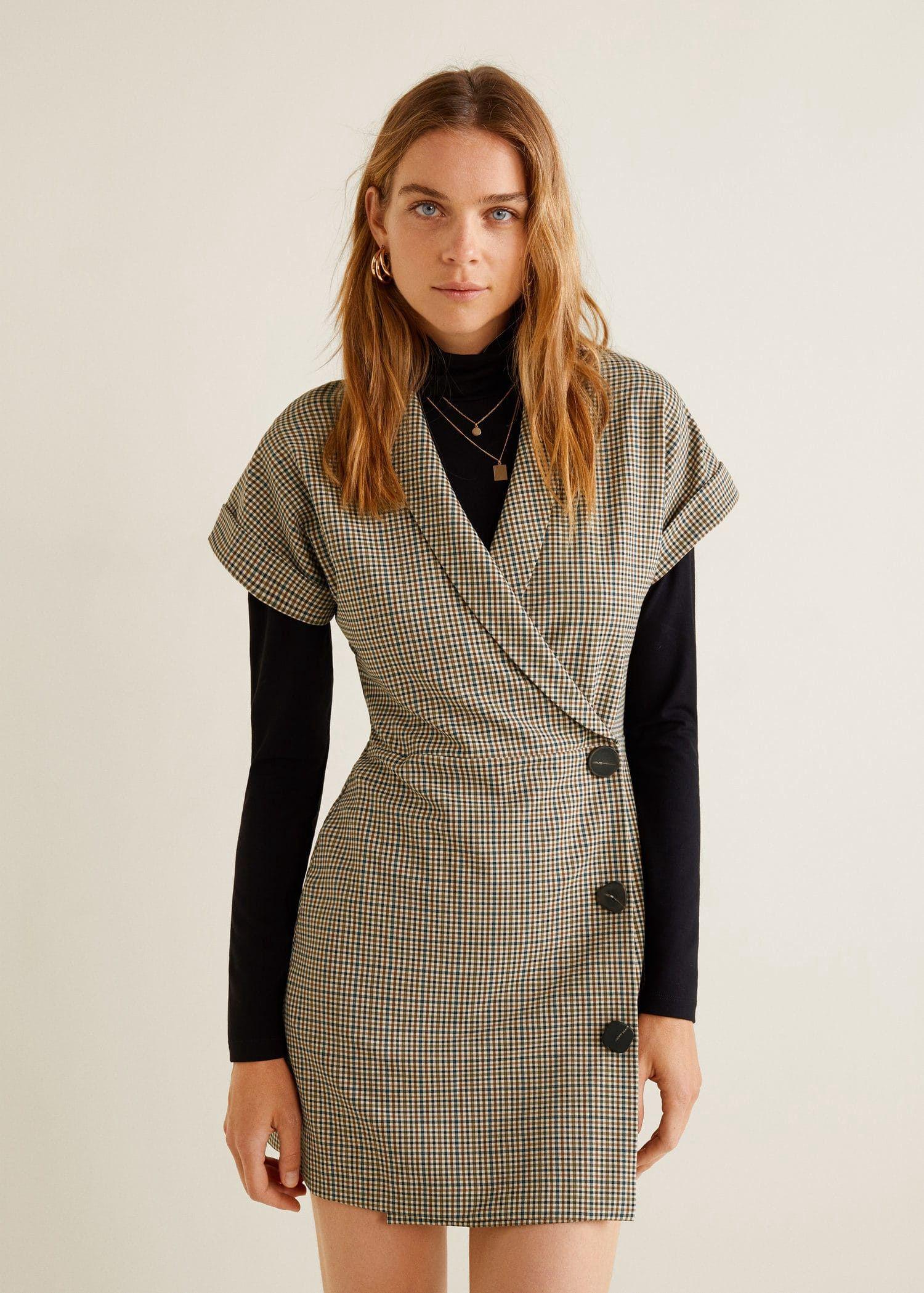 Mango Check Wrap Dress - 8   Products   Dresses, Wrap Dress, Fall ... be7b2c4dcb