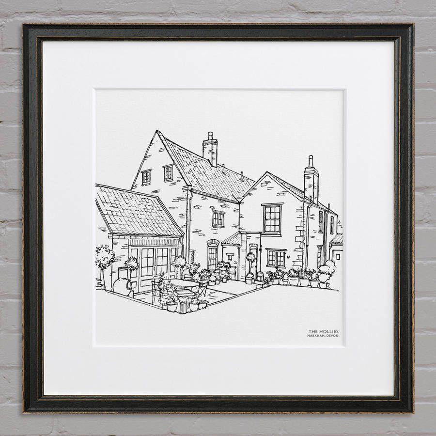 Personalised House Line Illustration