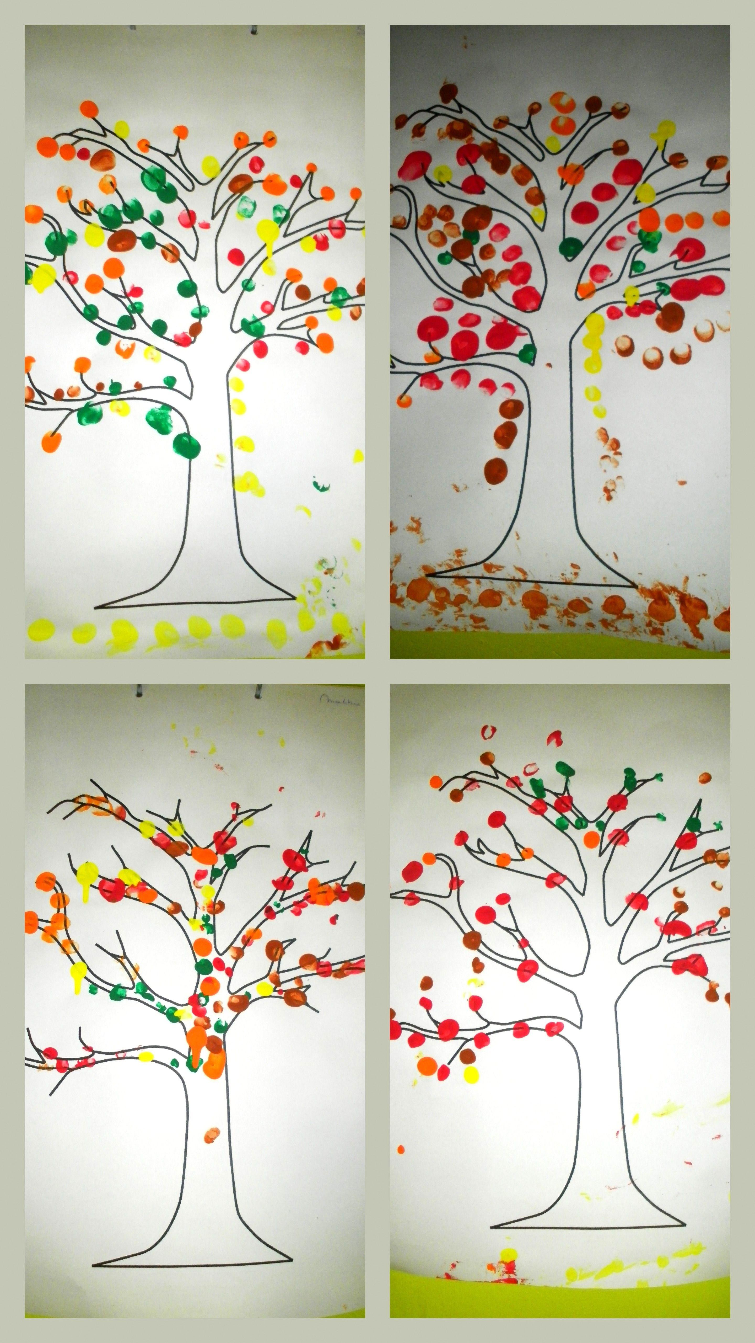 Herfstboom Vingerstempelen Met De Herfstkleuren Op Een Kale Boom Liestr Herfst Bomen Herfstkleuren Thema