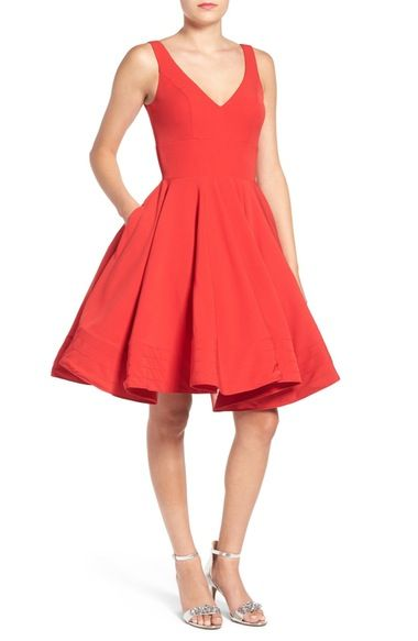 fff83f9a447 Ieena for Mac Duggal Double V-Neck Fit   Flare Party Dress available at   Nordstrom