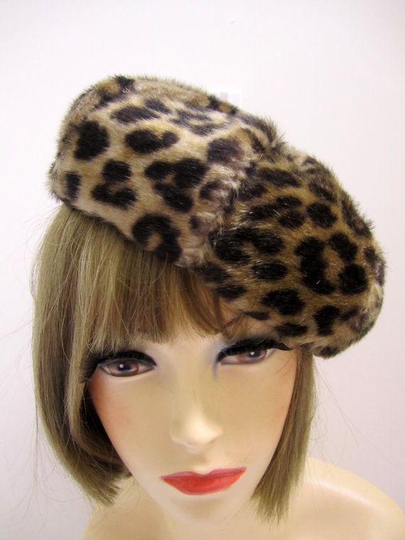 17b63347c8f90 1960s Leopard Beret hat faux Fur  Vintage Leopard print faux fur hat ...