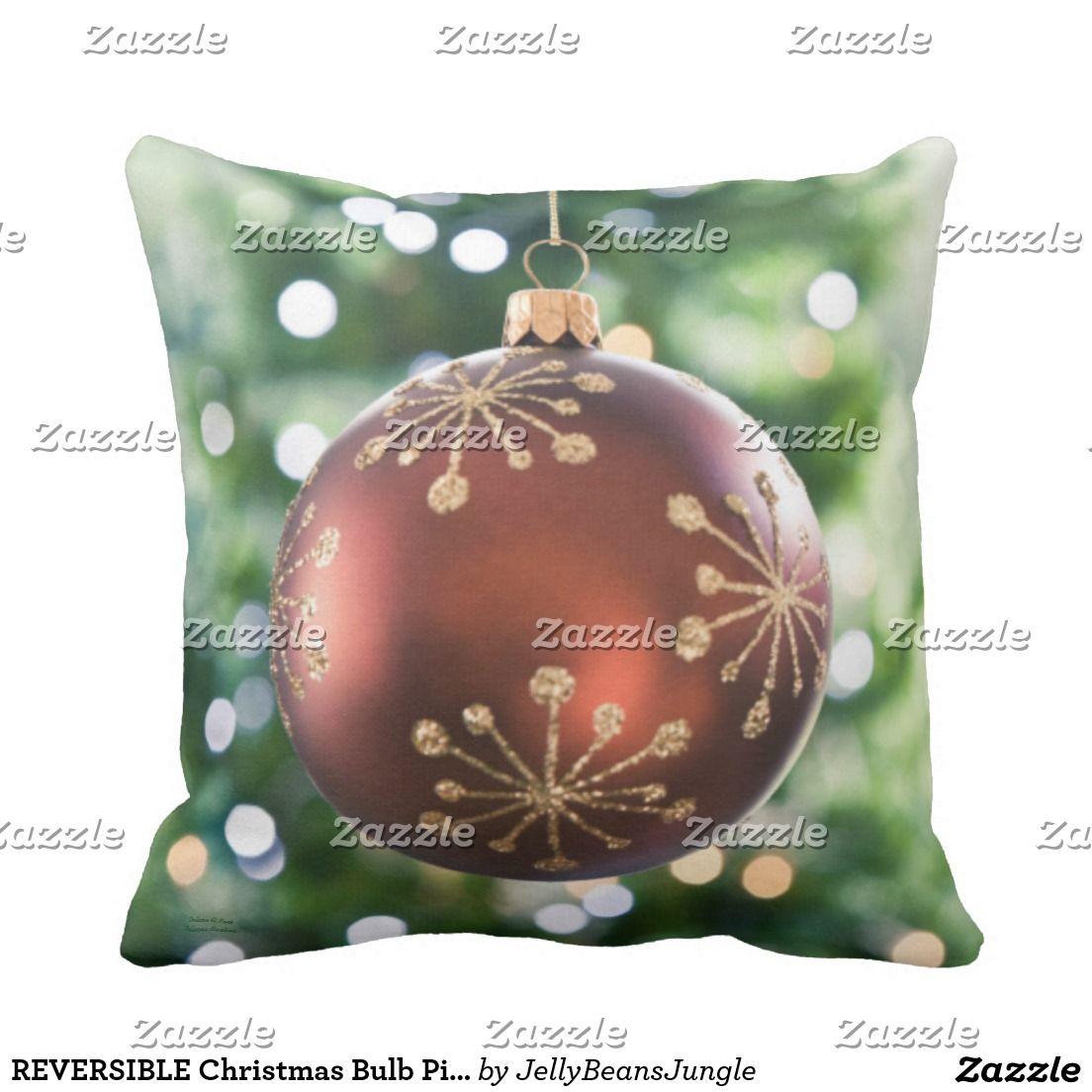 Sentimental Wedding Gift Ideas: REVERSIBLE Christmas Bulb Pillow (green)