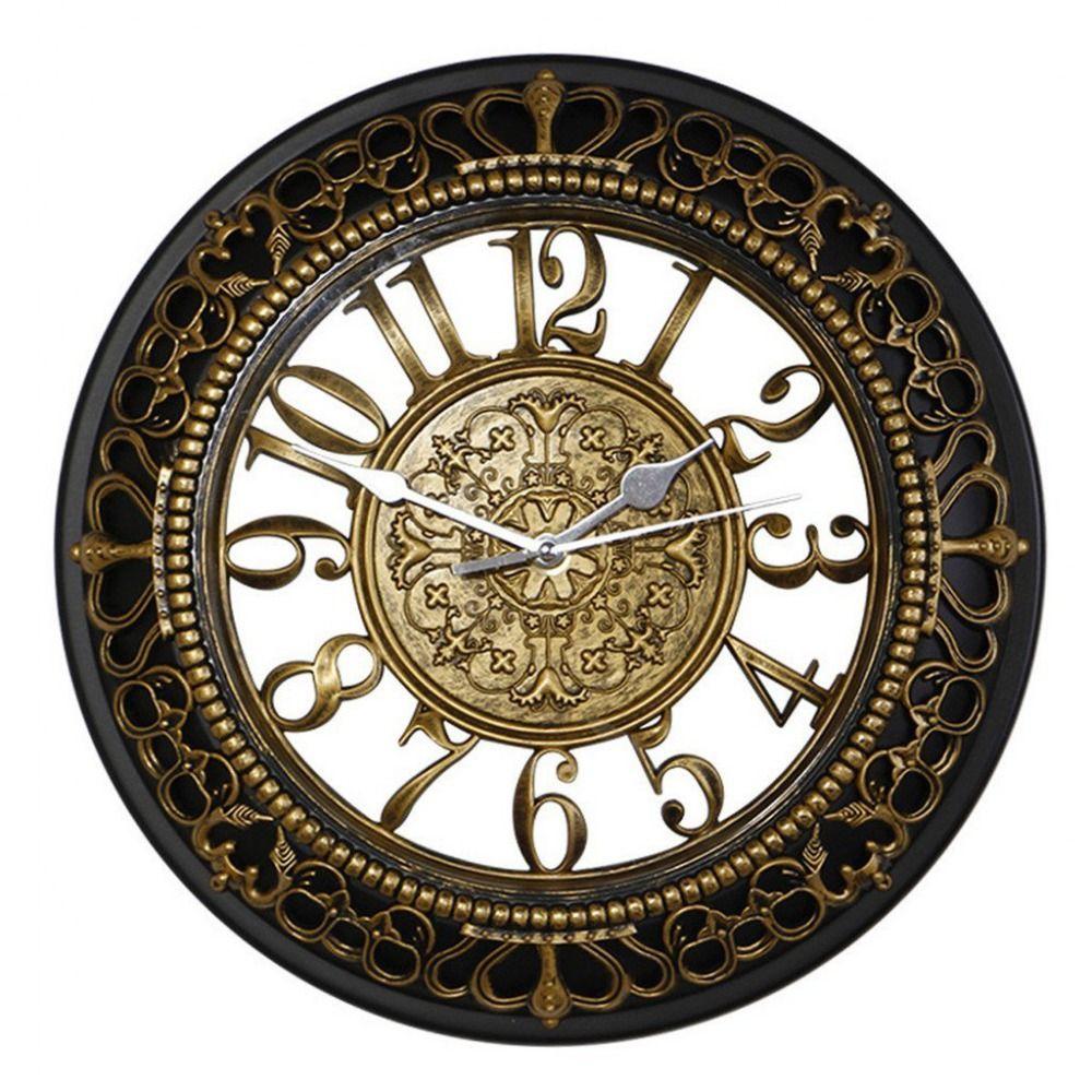 details about gold antique wall clock silent vintage kitchen