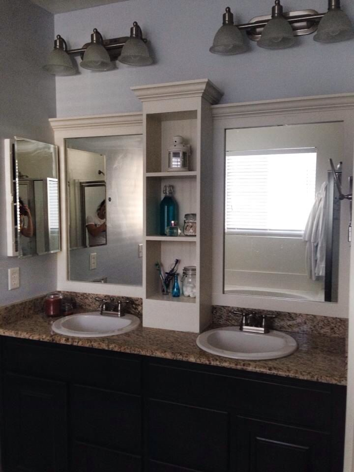 Framed In Mirror White Frame For With Dark Wood Cabinets Our Master Bathroom Fun Weekend Diy To Upgrade The Look From Builder Grade Custom
