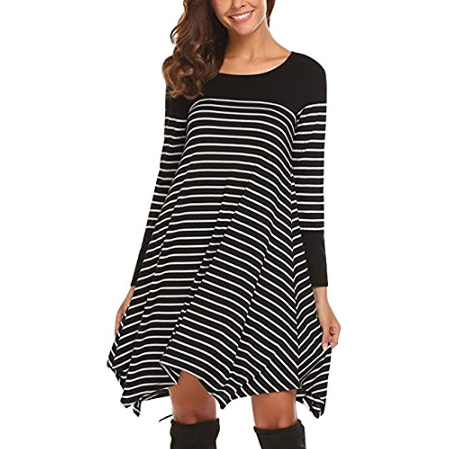 f20071d20162 Women s Black White Striped Shirt Long Sleeve Swing Casual Loose T-Shirt  Dress     Check this awesome product by going to the link at the image.