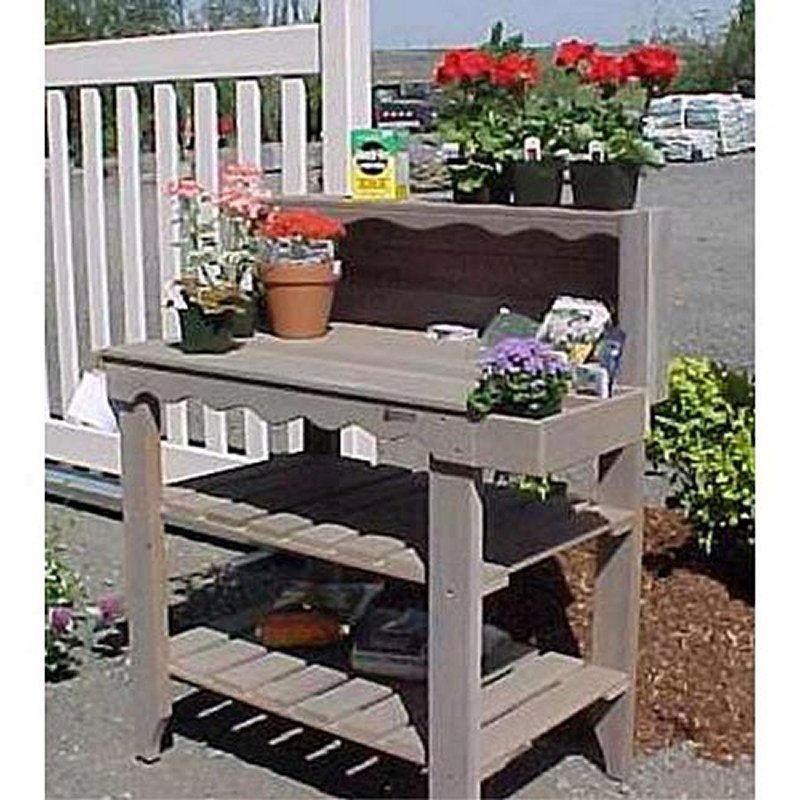 Outdoor Cedar Wood Potting Bench Bakers Rack Garden Storage Table