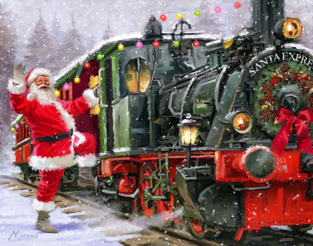 Santa Claus Boards The Santa Express Train Santas