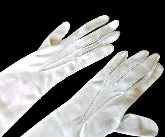 Long White Gloves Elbow Gloves Size 6 Raised Darts Clean