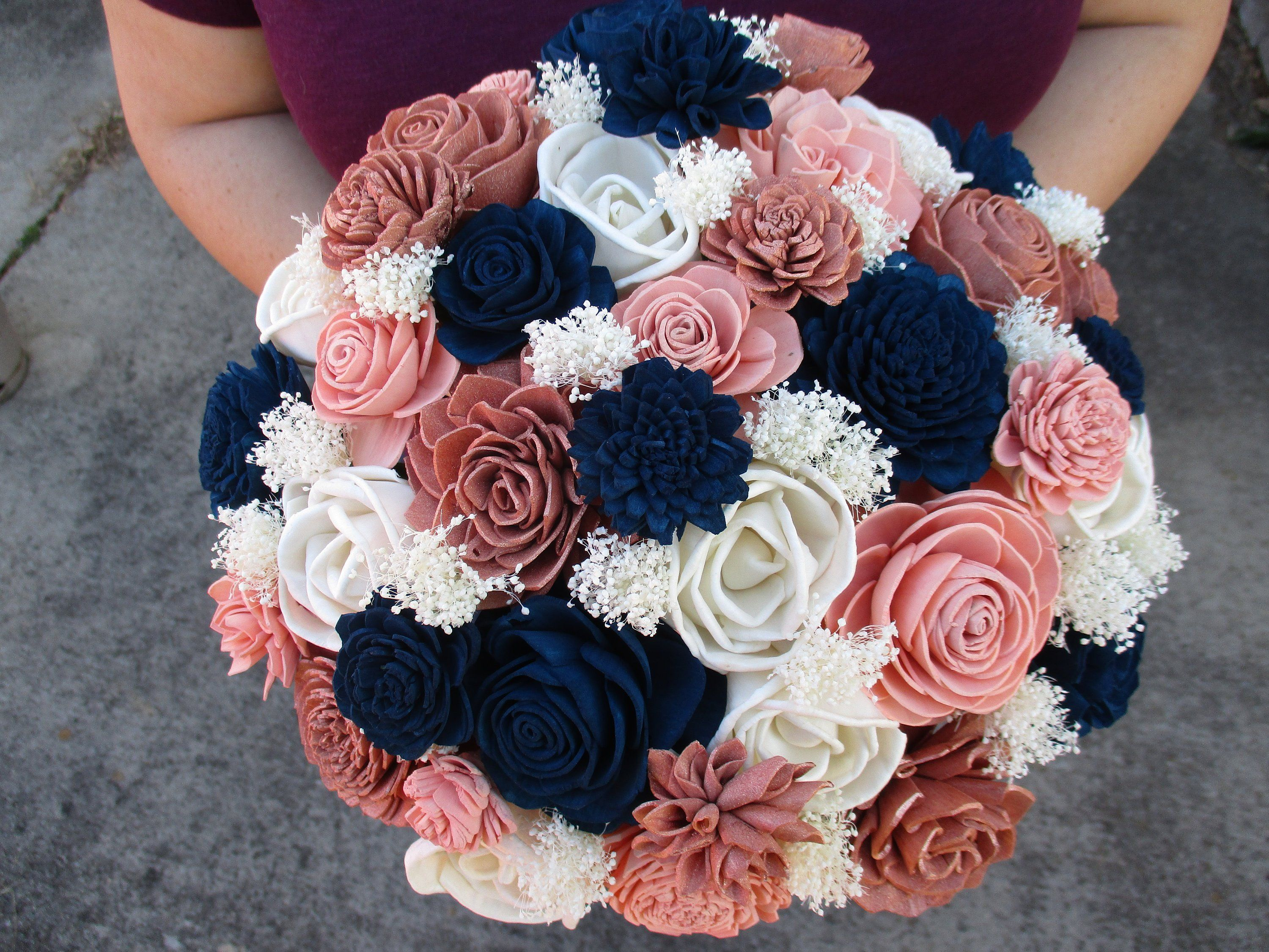 The Princess-Rose Gold, Navy Blue, Blush, and Ivory Wood Flower Wedding Bouquet #flowerbouquetwedding