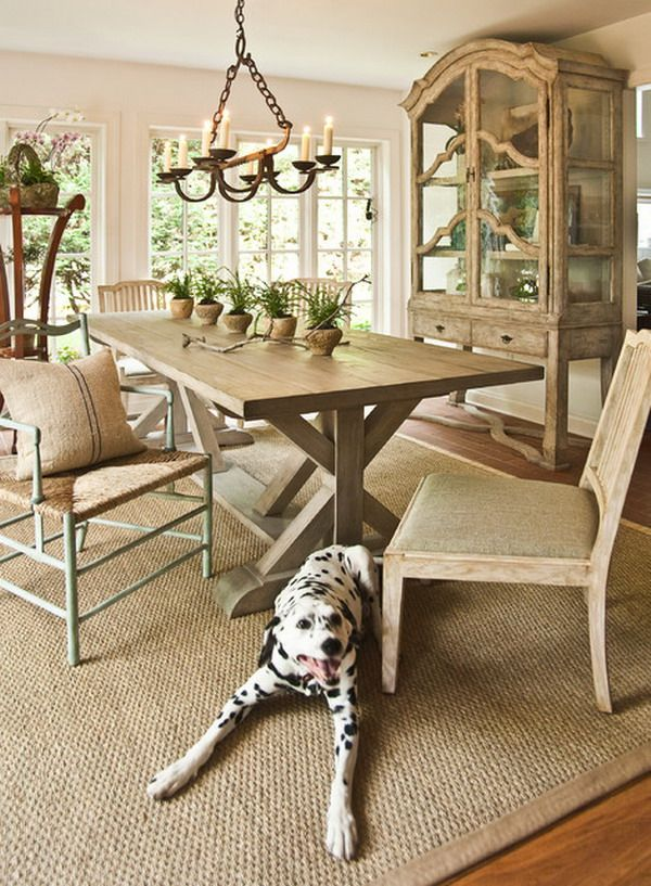 Traditional Dining Room Design With Hardwood Floors And Natural Fiber Rug Rug Under Dining Table Rustic Dining Room Dining Room Rug #traditional #living #room #rugs