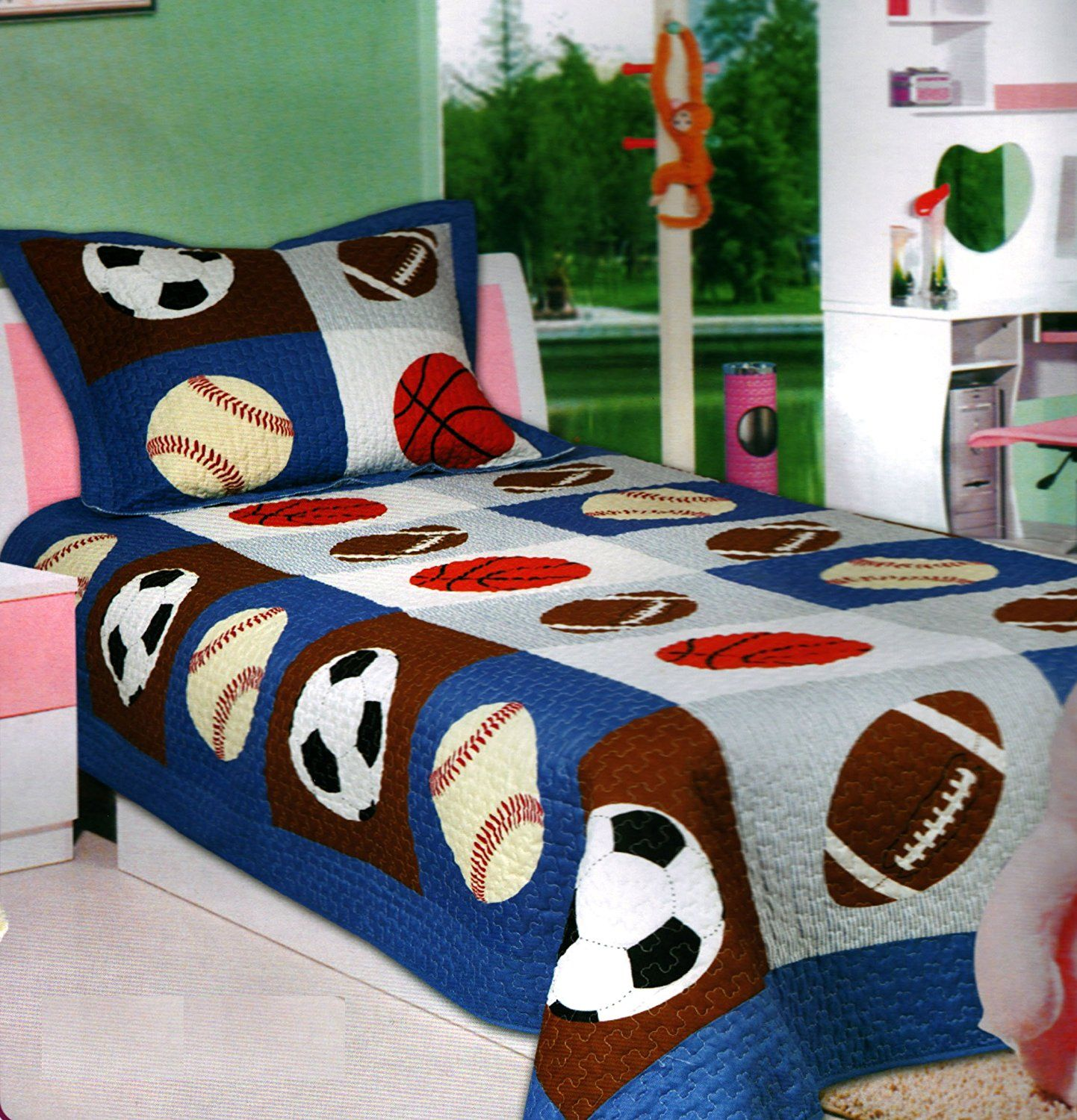 Mk Collection Bedspread Boys Sport Football Basketball Baseball New Full Kids Queen