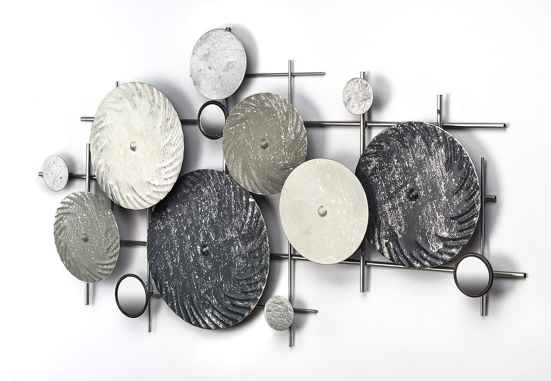 kobolo wandbild wanddekoration metallbild disc mit spiegeln silber grau 90x50 cm amazon de kuche haushalt metall bilder wandbilder hirschkopf deko