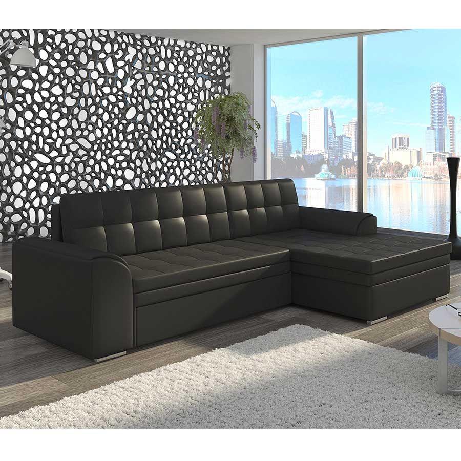 Meuble De Salon Canap Canap D Angle Cuir Noir Sofamobili Avec Canape Angle Convertible Iris2 Zd1 Z E Sofa Set Corner Sofa Sofa Bed