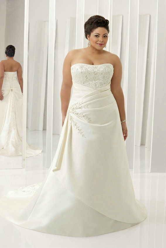 Taffeta Ivory Handmade Embroidery Tiered Ruched Plus Size Bride ...