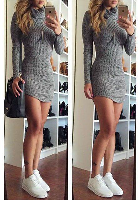 Grey Turtleneck Sweater Dress fashion grey women style lookbookstore ... 4bc03df533