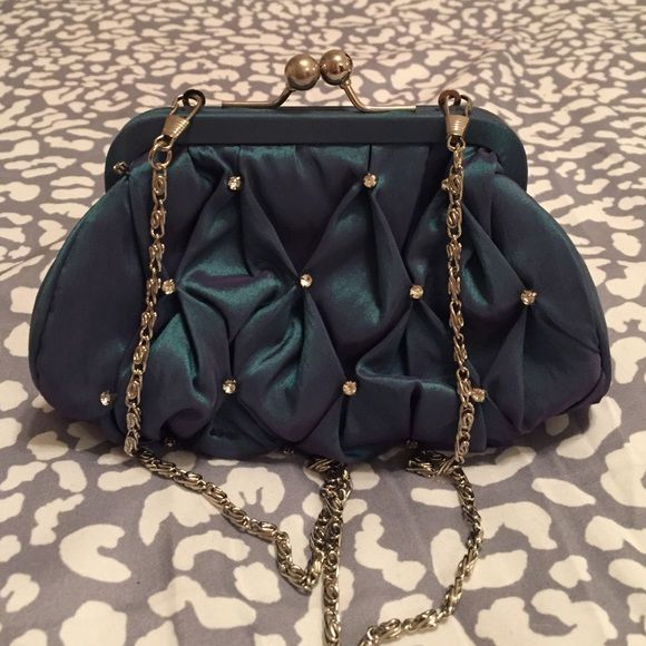 Jessica Simpson Teal Evening Bag New, Never Worn, Jessica Simpson Teal Purse with rhinestone embellishments and silver chain strap Jessica Simpson Bags Clutches & Wristlets