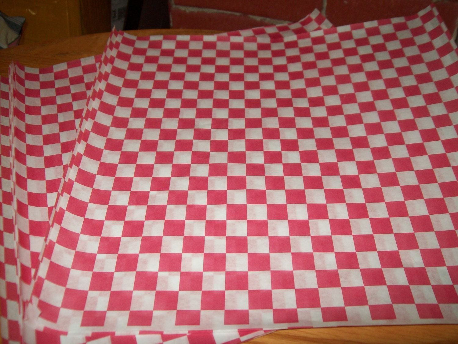Retro Red Checkerboard Paper Food Basket Liner, Hot Dogs, Burger Set ...