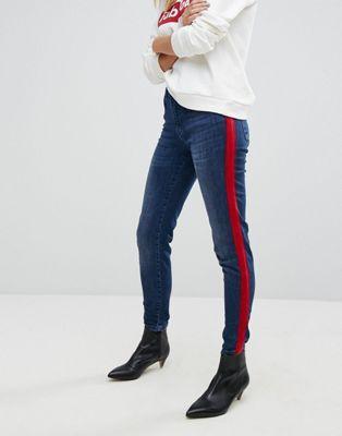 88547cbfeff0 Stradivarius High Waist Jeans With Contrast Velvet Stripe