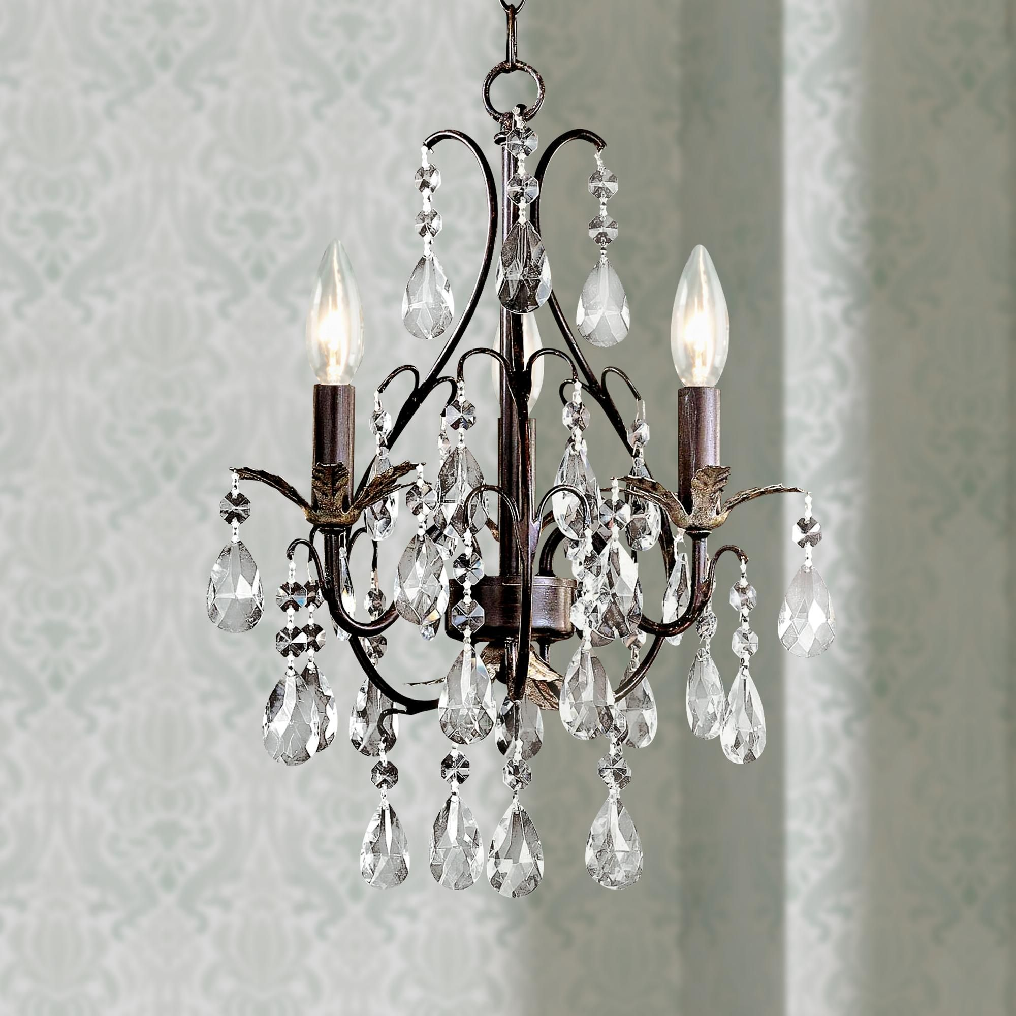 Castlewood Walnut Silver Finish 3 Light Mini Chandelier Style