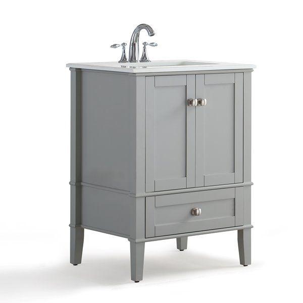 Simpli Home Chelsea 24 In Gray Bathroom Vanity With Marble Top
