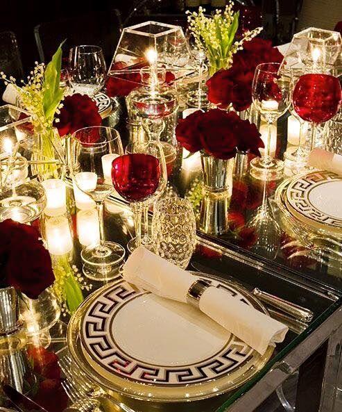 Valentine\'s elegant dinner party table setting. Greek design, bold ...