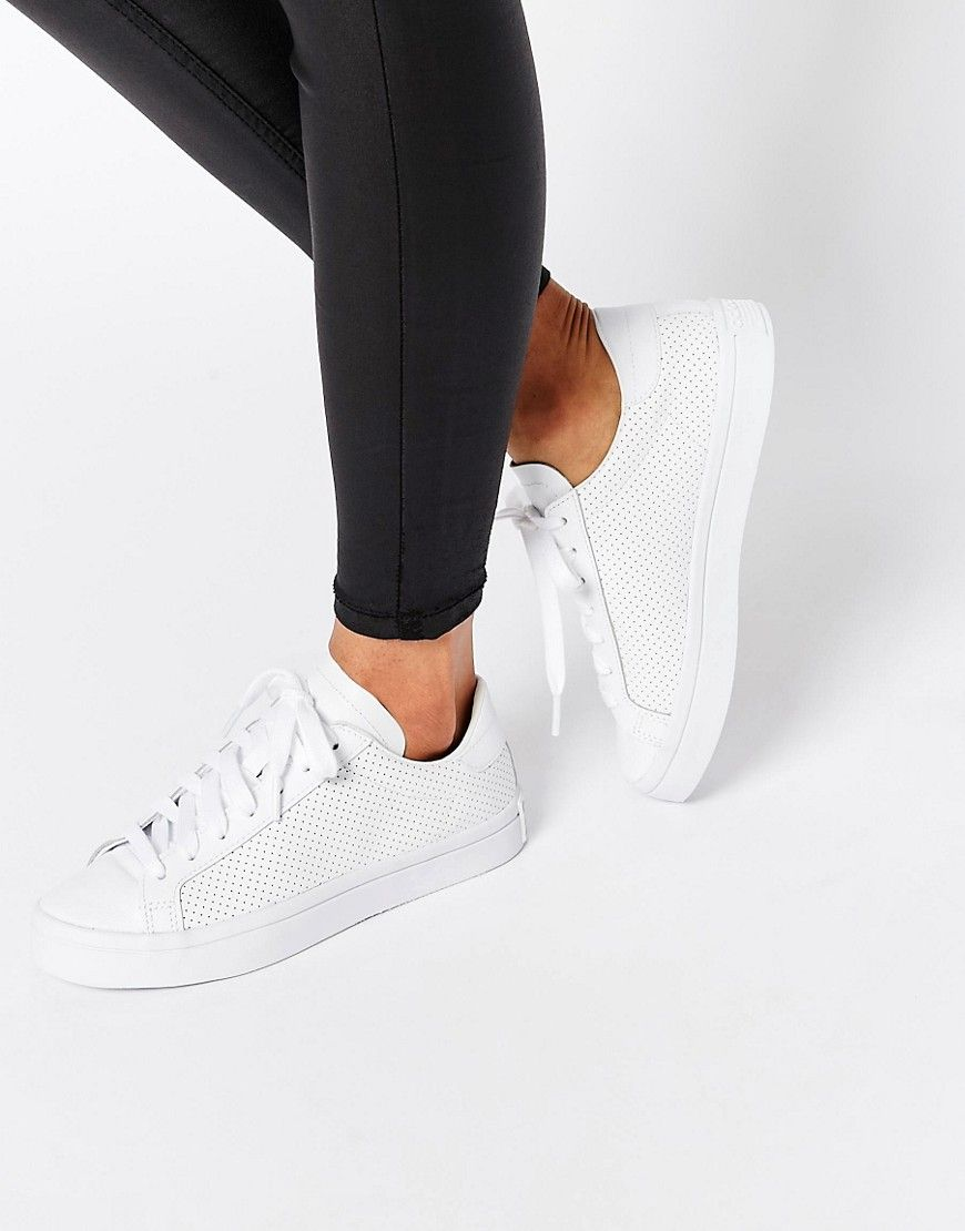 Adidas Originals Perforated Leather Court Vantage Trainers At Asos Com Adidas Shoes Women Leather Court Shoes
