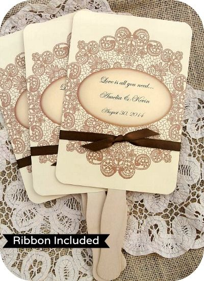 Personalized Wedding Favor Fans - Vintage Lace with Ribbon