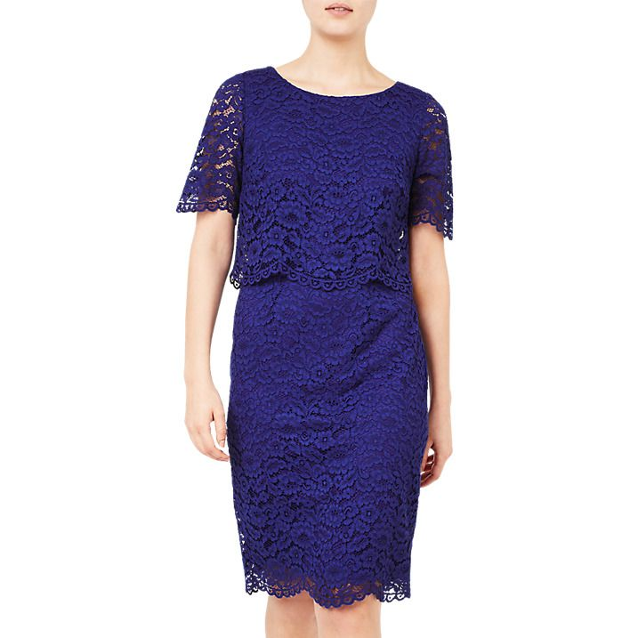 Buy Jacques Vert Floating Bodice Lace Dress, Mid Blue, 8 Online at ...