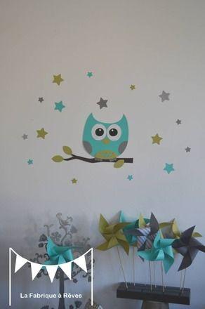 Stickers Hibou Et Ses étoiles Turquoise Vert Anis Gris - Decoration murale chambre bebe garcon