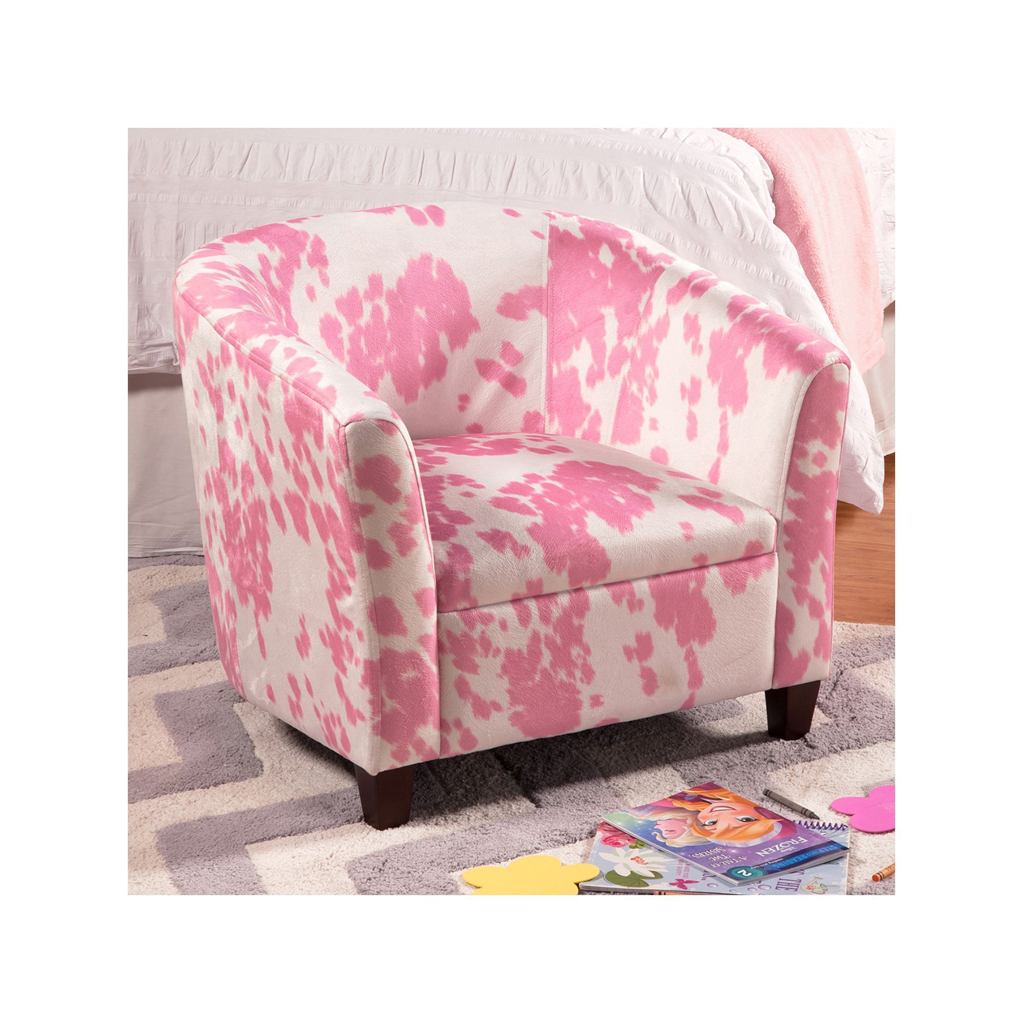 Homepop Cow Print Juvenile Accent Chair Pink