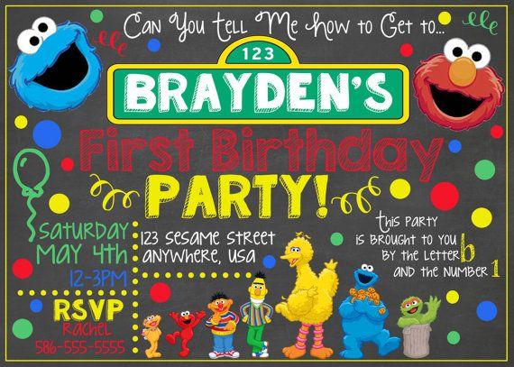 Sesame Street Chalkboard Invitation  Sesame Street Birthday