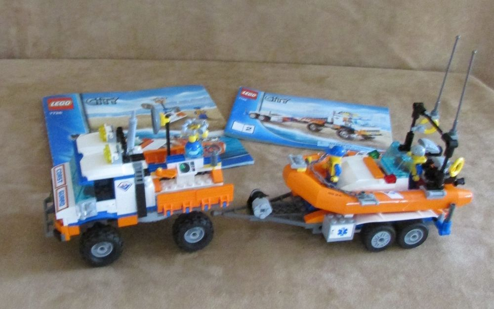 7726 Lego Complete City Coast Guard Truck With Speed Boat