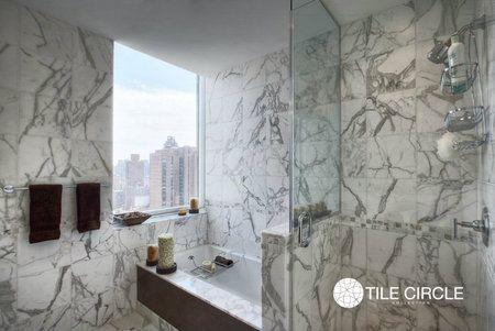 "Stunning Calacutta bathroom in Manhattan Calacutta Polished 12""x 12"" Tile - Tile Circle"