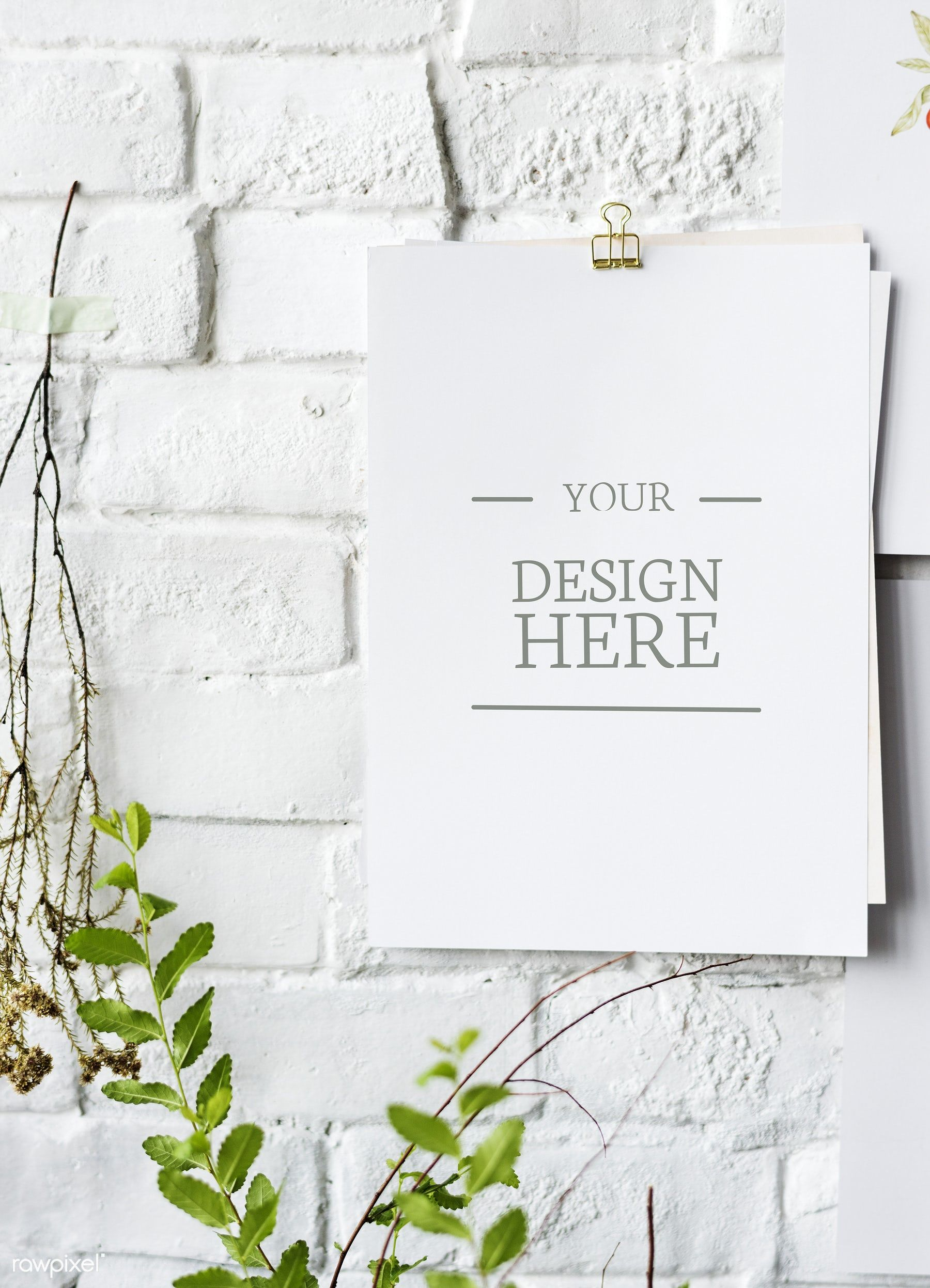 Download Premium Psd Of Mockup White Paper On White Brick Wall 295917 White Brick White Brick Walls Brick Wall
