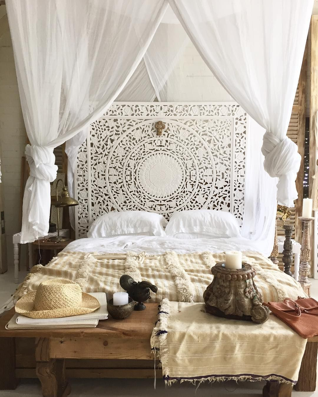 Bedroom Wood Headboard White Wall Panel Moroccan Decor Bedroom Moroccan Style Bedroom Moroccan Inspired Bedroom