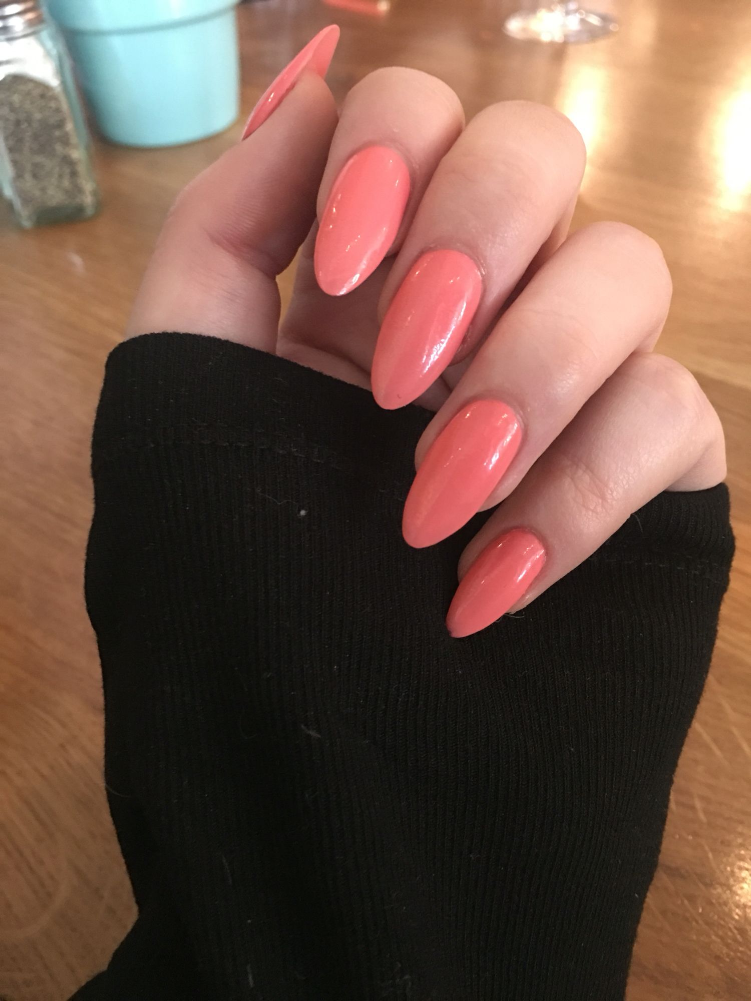 Coral colour almond shape nails - In love with these #nails ...