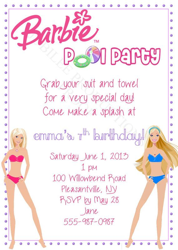 Barbie Pool Party Birthday Invitation By JuBiLeeProductions 800