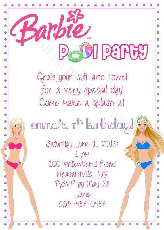 Barbie Pool Party Birthday Invitation by JuBiLeeProductions, $800 - birthday invitation swimming party