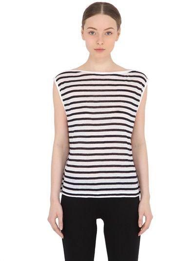 ALEXANDER WANG Striped Jersey Crop Top, Blue/White. #alexanderwang #cloth #tops