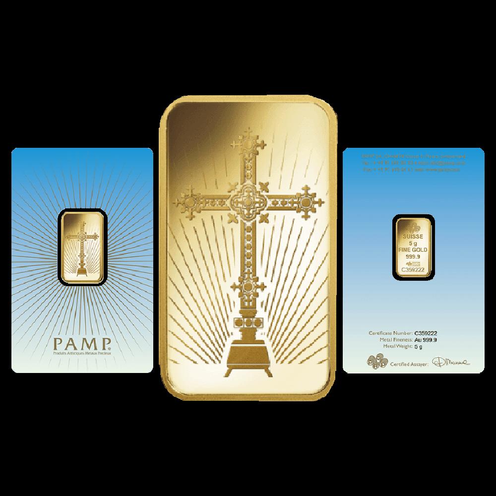 Pamp Faith Romanesque Cross 5 Gram Gold Bar Gold Bullion Co Gold Bullion Gold Bar Gold Bullion Bars