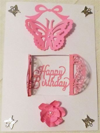 Happy Birthday Card With Pink Butterfly And Flower Card Made In The