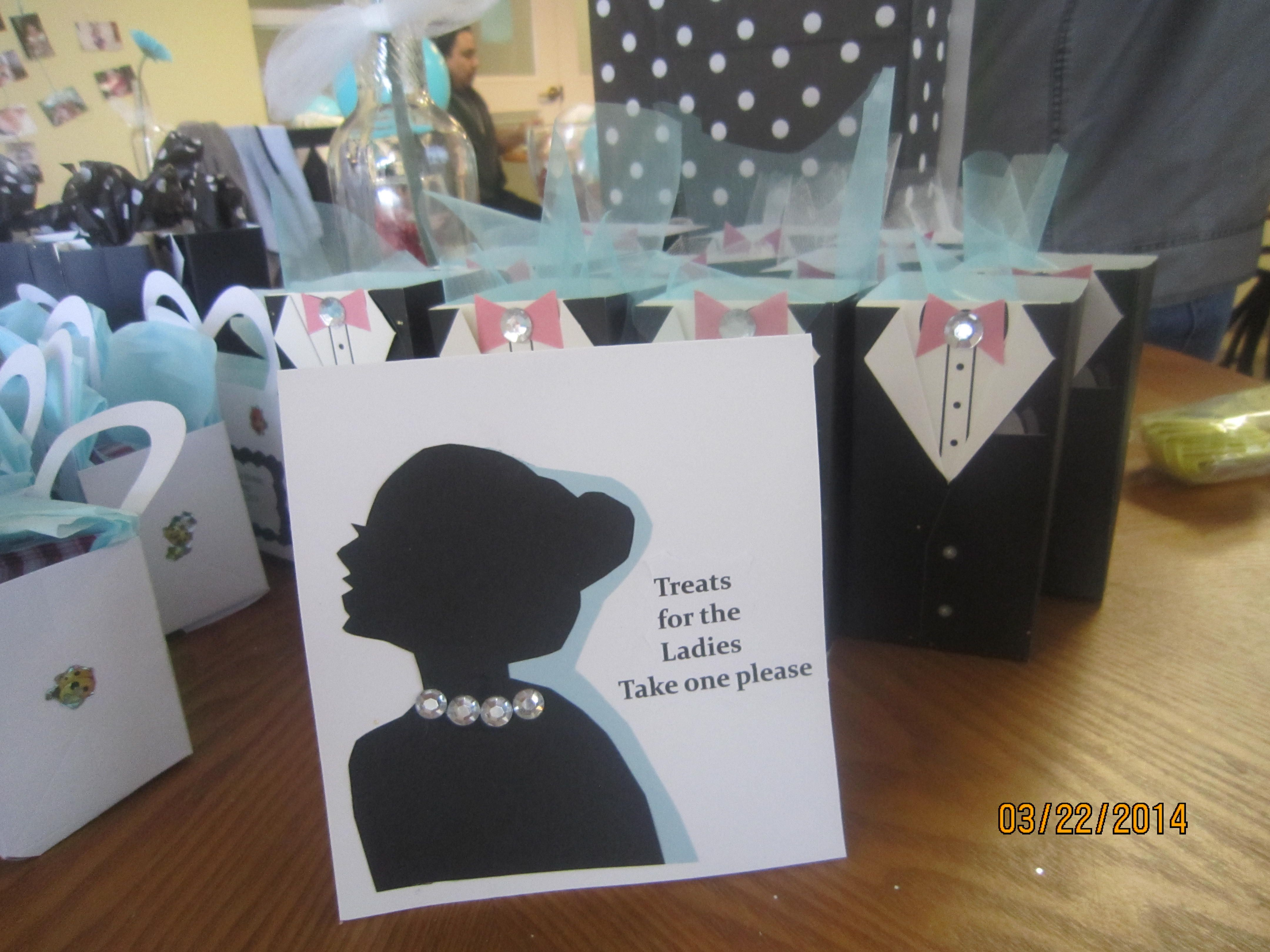 Party Favors For The Ladies Dollar Store Wedding Favor Boxes With Pink Bow Ties A Gem Glued Over Black Tie I Traced Lady From Pc And