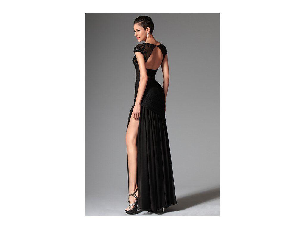 Odvážné společenské šaty s flitry Sexy šaty s výrazným rozparkem romantické  černá krajka s květinami velký výstřih výstřih je kulatý 382e5d726b0