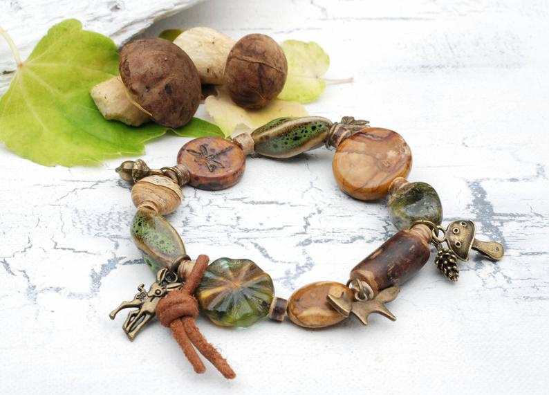 KCA 51 enchanting chain Forest Bathing glass hollow bead mushrooms real acorn cap forest walk autumn autumn real moss nature