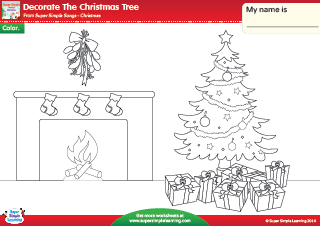 Decorate The Christmas Tree Christmas Coloring Worksheet From Super Simple Learning Prek Kindergarten Christmas Kindergarten Christmas Kindergarten Songs