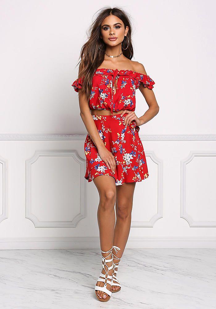 d1361442416 Red Floral Off Shoulder Crop Top - Boutique Culture